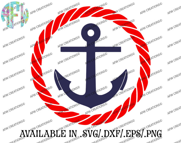 Anchor Rope Frame - SVG, DXF, EPS