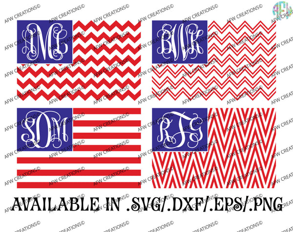 Monogram USA Flag - SVG, DXF, EPS