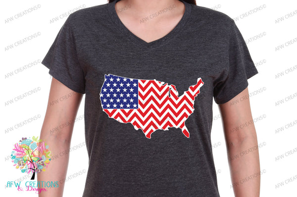 Chevron Patriotic USA - SVG, DXF, EPS