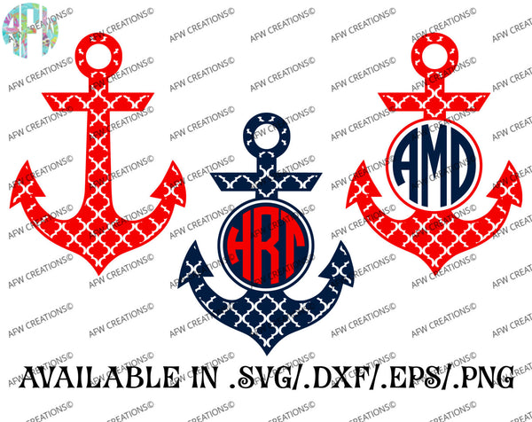 Monogram Anchors - Quatrefoil - SVG, DXF, EPS
