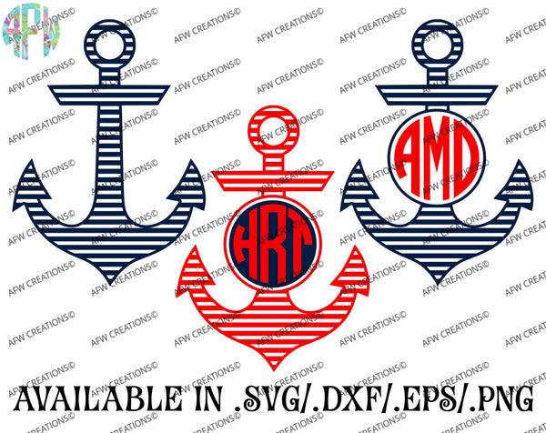 Stripe Monogram Anchors - SVG, DXF, EPS