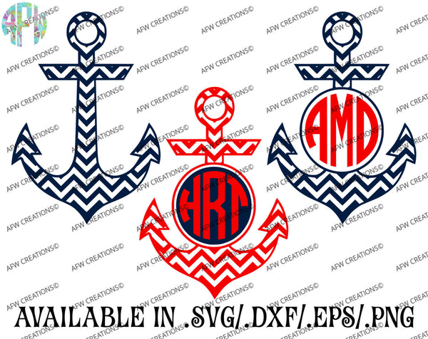 Monogram Anchors Chevron - SVG, DXF, EPS