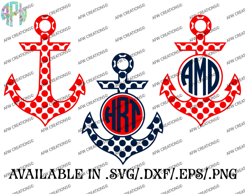 Monogram Anchors - Polka Dot - SVG, DXF, EPS