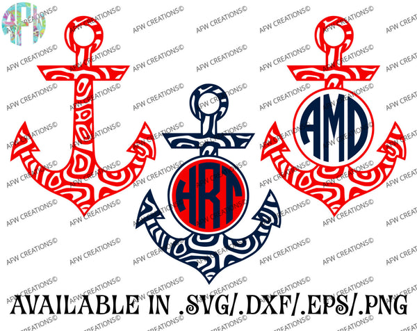 Swirl Monogram Anchors - SVG, DXF, EPS