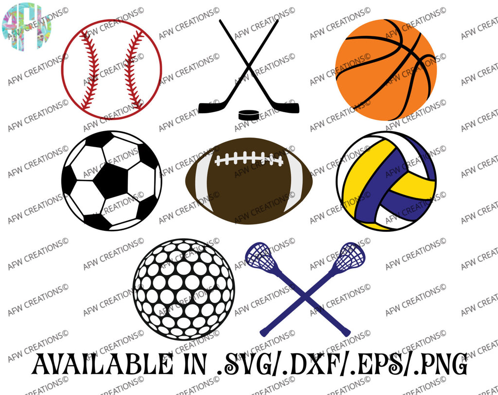 Sports Designs & Balls - SVG, DXF, EPS