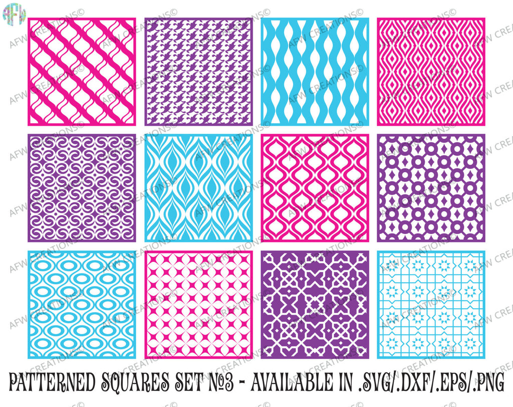 Pattern Squares Bundle #3 - SVG, DXF, EPS