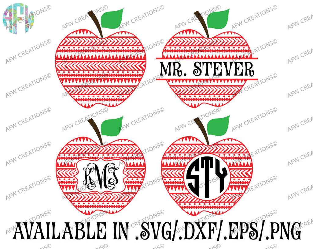 Aztec Monogram & Split Apples - SVG, DXF, EPS