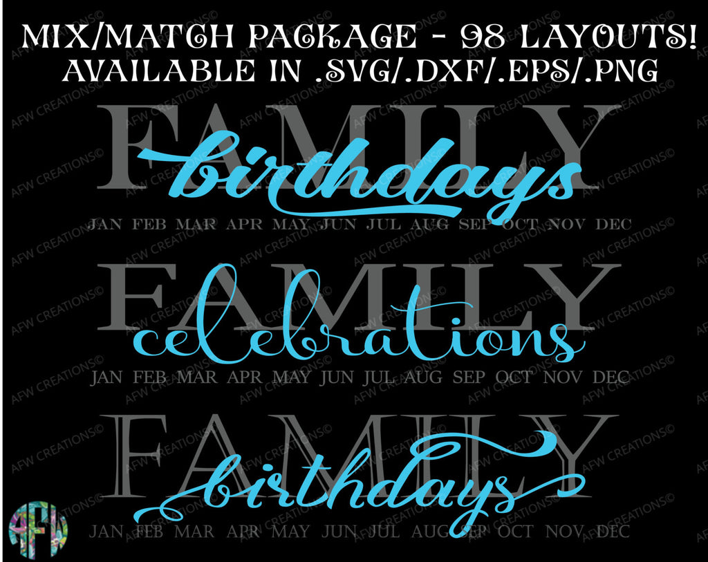 Family Birthdays & Celebrations - SVG, DXF, EPS