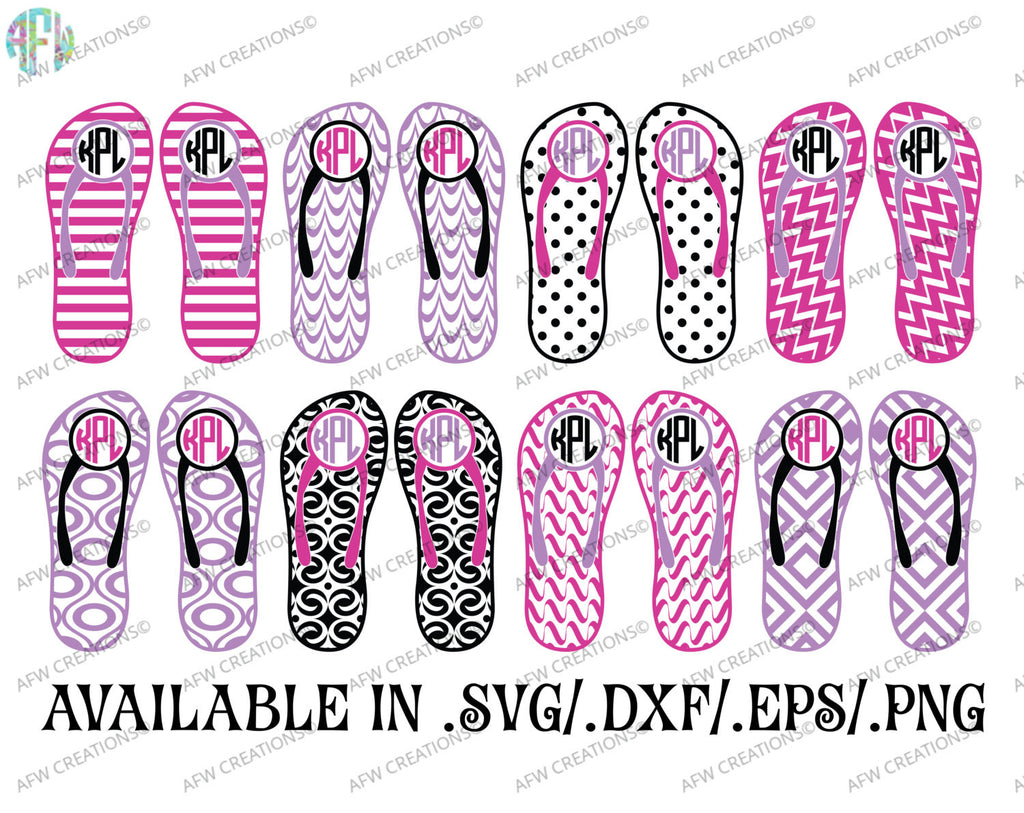 Monogram Flip Flops Set #1 - SVG, DXF, EPS
