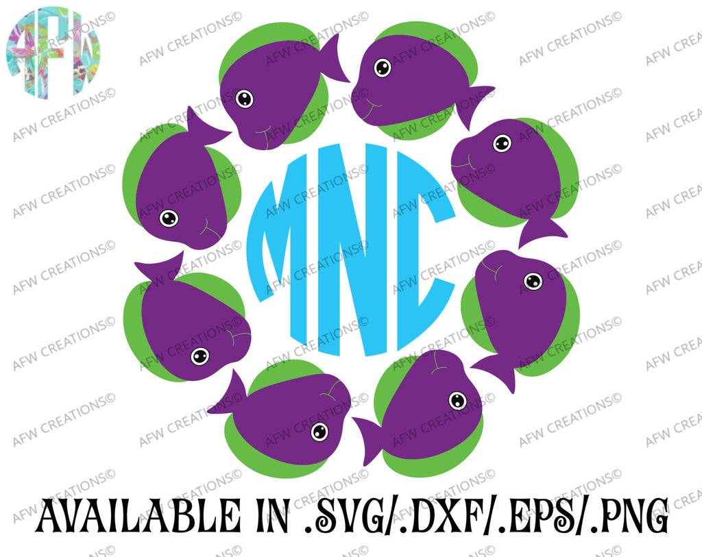 Fish Monogram Frames - SVG, DXF, EPS