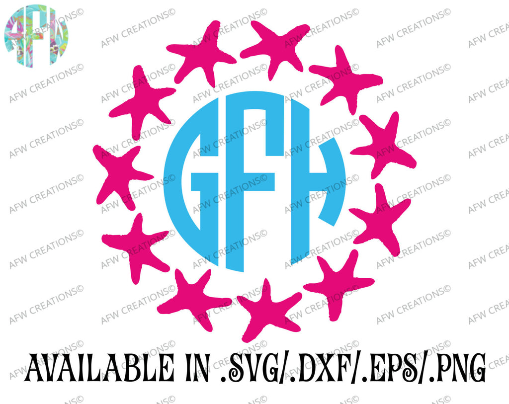 Starfish Monogram Frame - SVG, DXF, EPS