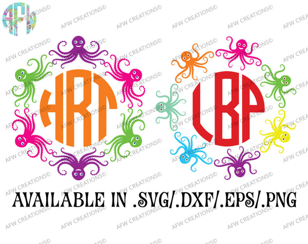 Octopus Monogram Frames - SVG, DXF, EPS