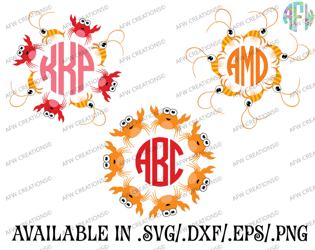 Crab & Shrimp Monogram Frame Set - SVG, DXF, EPS