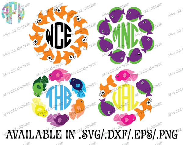 Tropical Fish Monogram Set - SVG, DXF, EPS
