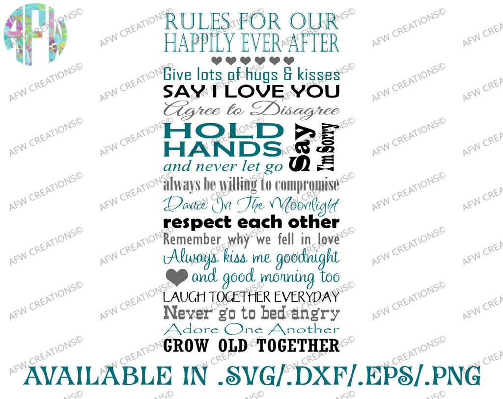 Rules For Our Happily Ever After Svg Dxf Eps Afw Designs