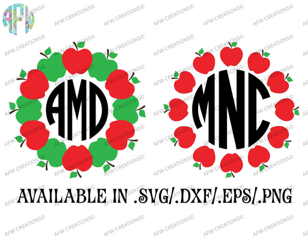 Apple School Monograms - SVG, DXF, EPS