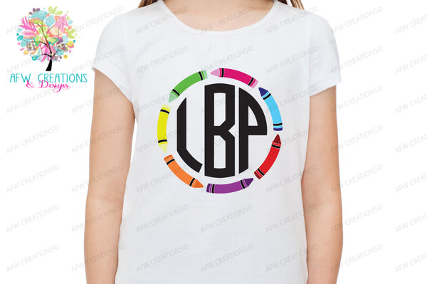 Crayon School Monograms - SVG, DXF, EPS