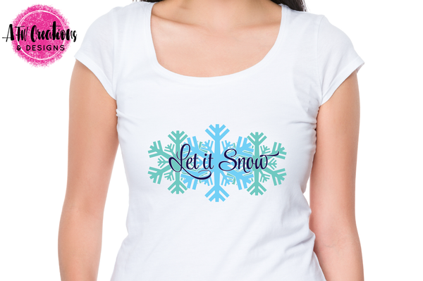 Let it Snow Winter Snowflakes - SVG, DXF, EPS