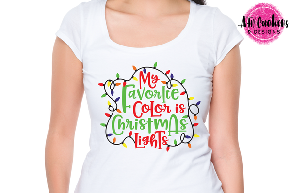 My Favorite Color is Christmas Lights - SVG, DXF, EPS