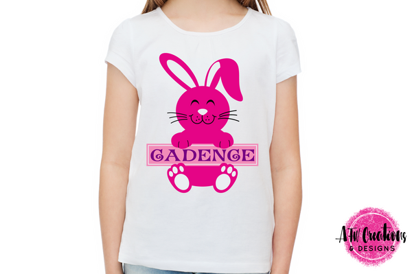 Split Easter Bunny with Sign - SVG, DXF, EPS