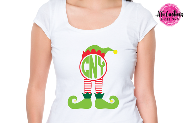 Monogram Elf Legs - Striped - SVG, DXF, EPS