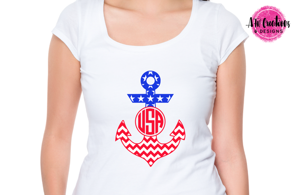 Patriotic Anchors - Chevron Monogram - SVG, DXF, EPS