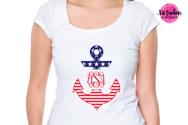Patriotic Anchors - Monogram - SVG, DXF, EPS