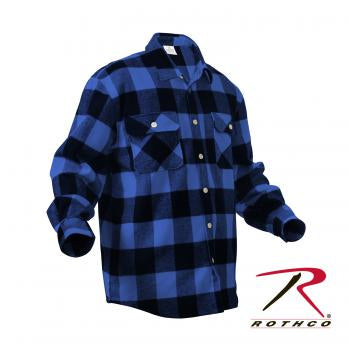 Rothco Extra Heavyweight Buffalo Plaid Flannel Shirt Blue