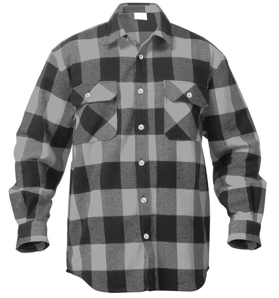 Rothco Extra Heavyweight Buffalo Plaid Flannel Shirt Grey