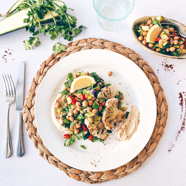 Cauliflower Steaks with Chickpea Salad and Hummus