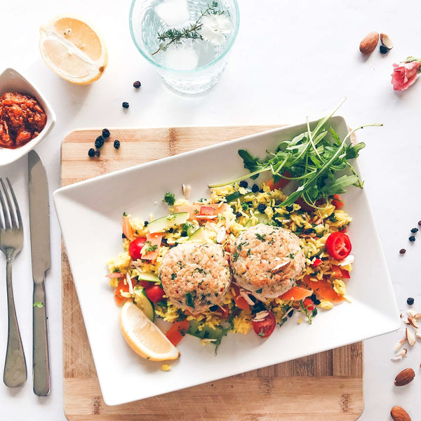 Chicken Meatballs with Lemon and Harissa relish, Vegetable pilaf