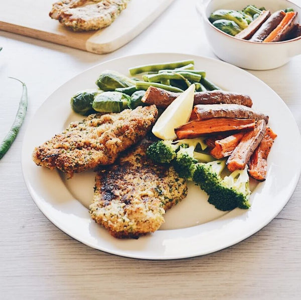 Herb Crumbed Chicken with Sweet Potato Wedges and Veggies