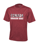 "Red speckled colour with a round neck t-shirt. Logo ""Canada dragon boat"" appears on the front of the shirt in gray and white. There is a white, tribal patterened dragon that appears throughout the word Canada."