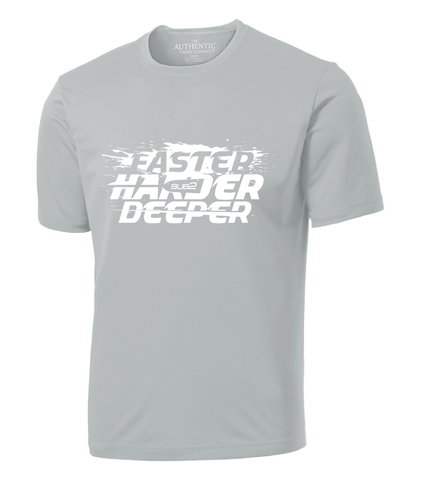 "Light gray solid colour t-shirt with round neck. Words ""Faster harder deeper"" appear on front of shirt in white, with image of paddle and brand ""Sub2"" appears in middle of words."