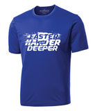"Royal blue solid colour t-shirt with round neck. Words ""Faster harder deeper"" appear on front of shirt in white, with image of paddle and brand ""Sub2"" appears in middle of artwork."