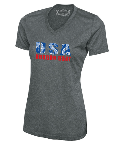 "Dark gray speckled colour. This is a v-neck shirt, tailored to compliment a feminine figure.Made with moisture wicking material that helps to keep you cool on and off the water. The logo ""USA Dragon Boat"" appears on the front of the shirt in blue and red. There is a white, tribal patterned dragon featured throughout the letters USA."