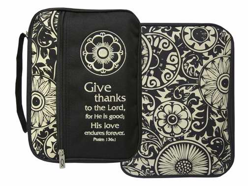 Bible Cover-Canvas-Give Thanks Print-X Large-Black/Tan