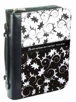 Bible Cover-Blanc Noir Microfiber-Large-Black/White