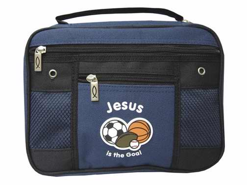 Bible Cover-Canvas-Jesus Is The Goal-Large-Blue