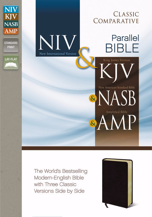 Classic Comparative Side-By-Side Bible-NIV/KJV/NAS/AMP-Burgundy Bonded Leather