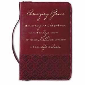Bible Cover-Amazing Grace-Large-Rich Red
