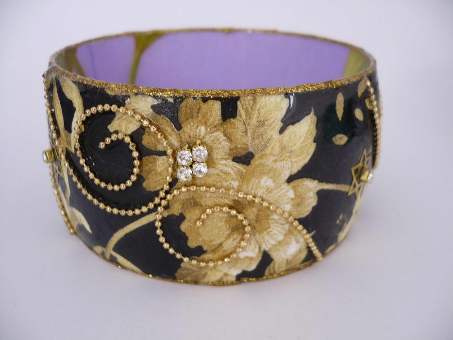 Bracelet-Black W/Tan Flower & Sparkle (Hand-Painted)