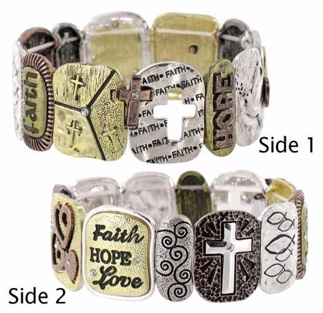 Bracelet-Faith Words & Symbols-Stretch