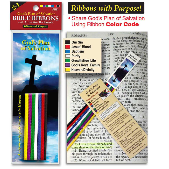 Bible Ribbons w/Bookmark-Plan Of Salvation