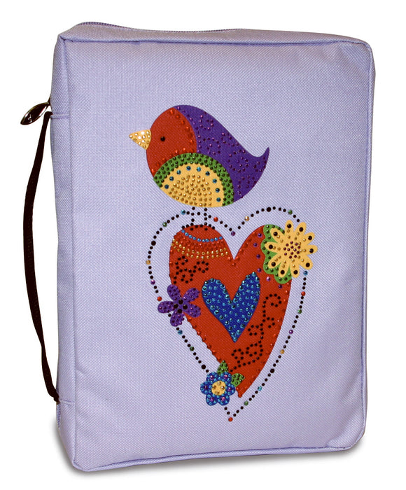 Bible Cover-Gem Embellished-Bird/Heart-X Large