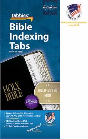 Bible Tab-Mini Tabs O&N Testament w/Catholic Books-Gold Edged