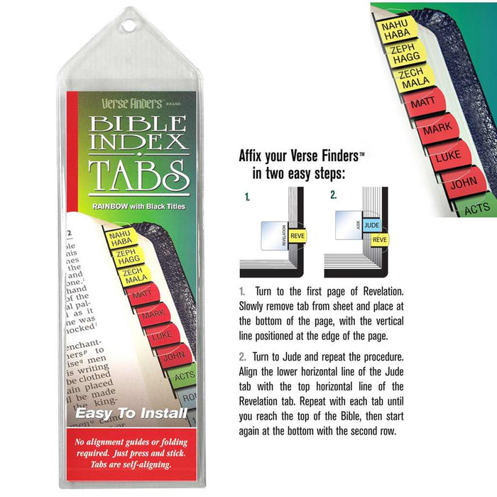Bible Tab-Verse Finders-Horizontal-Thin Pack-Rainbow