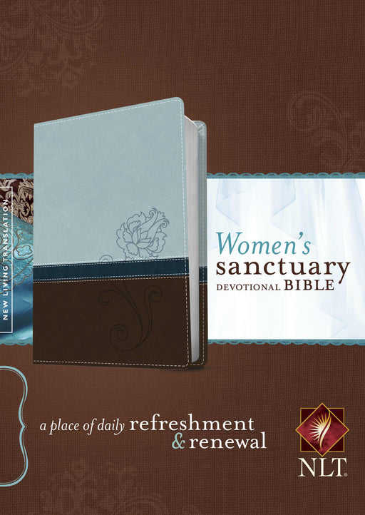 NLT2 Womens Sanctuary Devotional Bible-Blue/Brown TuTone