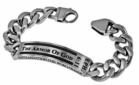 Bracelet-Cable-Armor Of God (Eph 6:11) (Mens) Sz 8