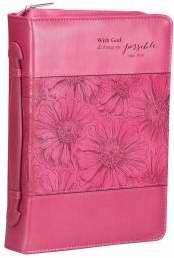 Bible Cover-With God/Pink Orchid-Large-Pink Luxleather